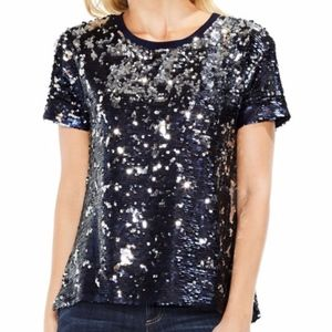 Two by Vince Camuto Sequin Knit Tee, Black Iris